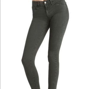 J Brand 28 dark green super skinny conifer jeans